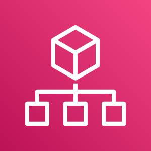 AWS Organizations icon depicting a cube with three smaller squares connected to it against a pink background