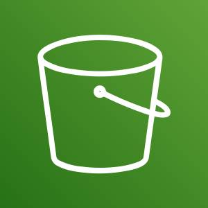 Service icon for Amazon S3 depicted by a bucket with a handle.
