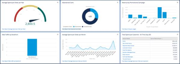 Shows Actionable insights with B2B Commerce dashboards and reports.