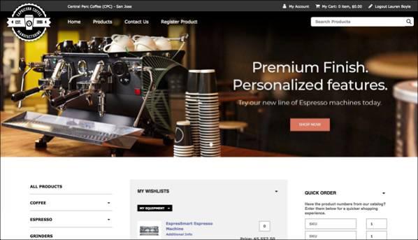 架空の Capricorn Coffee サイトでの体験管理の例の表示。