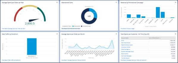 B2B Commerce ダッシュボードおよびレポートと実行可能なインサイトの表示。