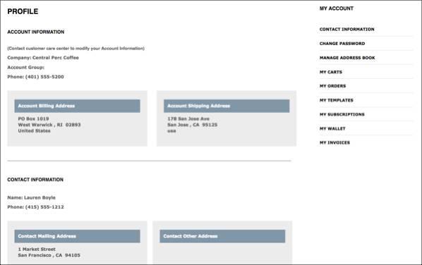 架空の Capricorn Coffee サイトでのアカウント管理コールデフレクションの表示。