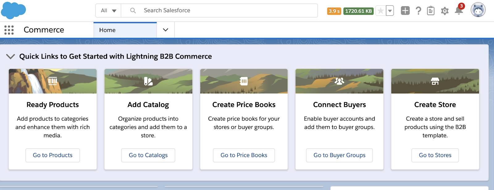 Commerce app in Salesforce.