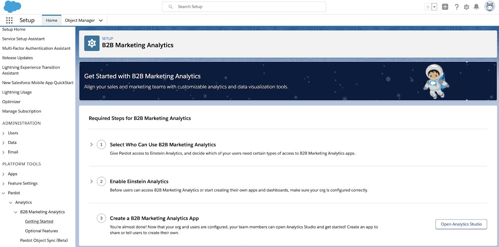 B2B Marketing Analytics Set-up screen.