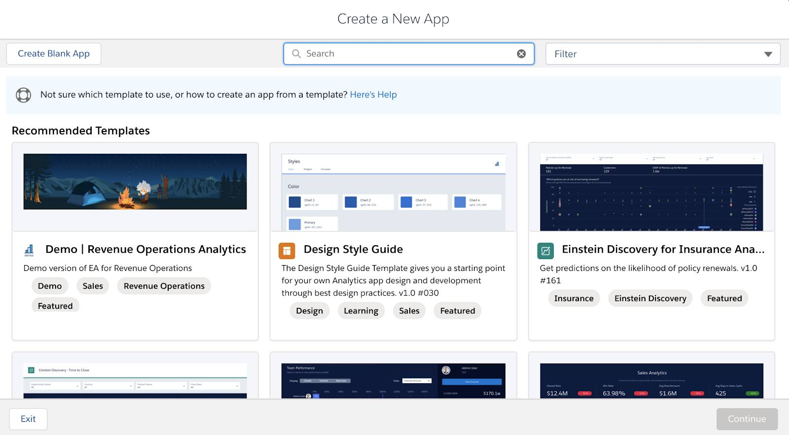 Create a New App Dashboard.