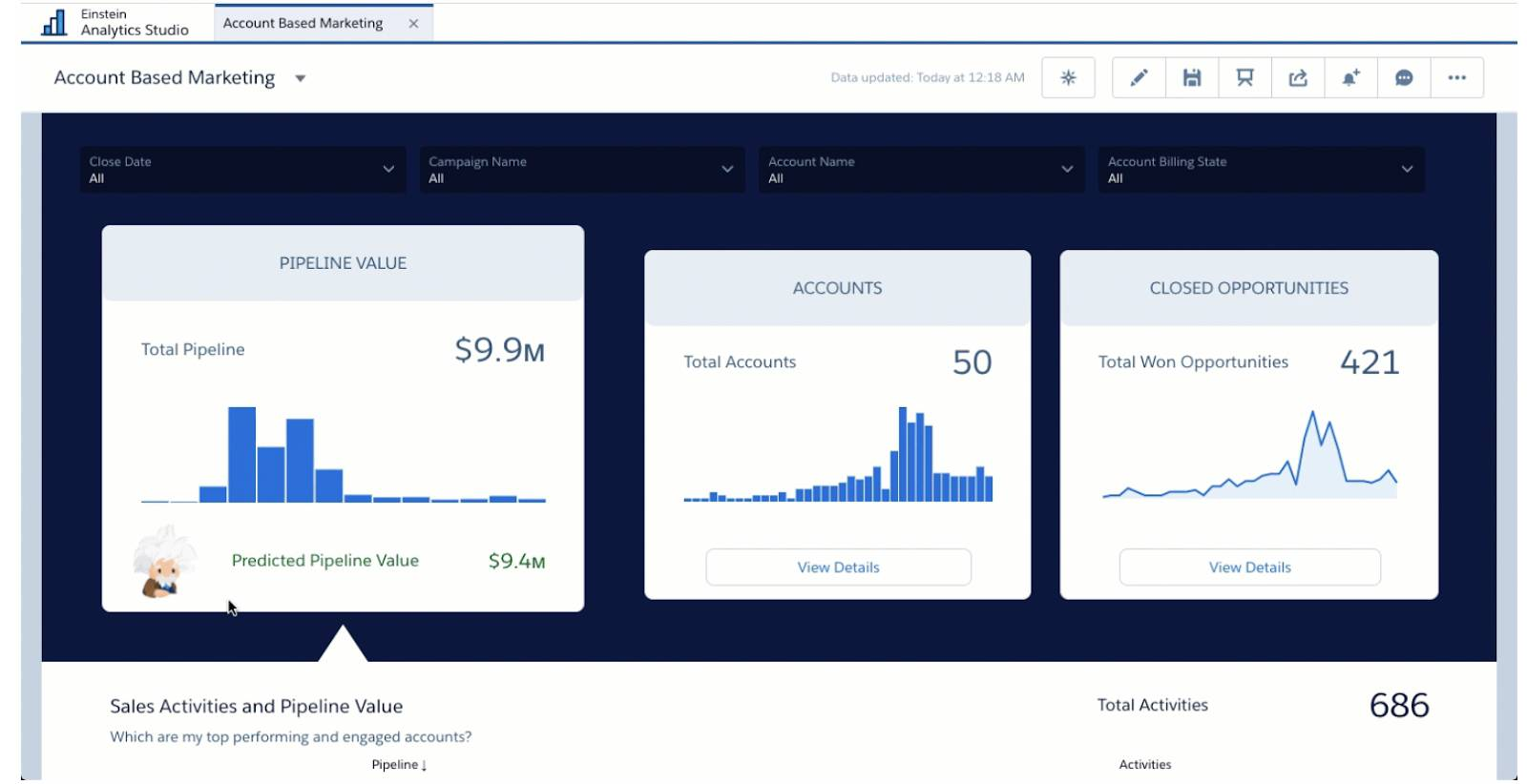 Account-Based Marketing app dashboard