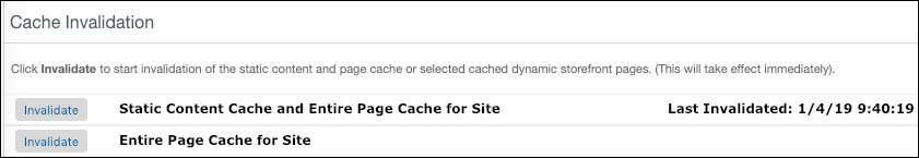 Business Manager Cache Invalidation