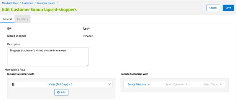The Business Manager Customer Group         details page where you can create membership rules.