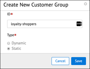 In Business Manager, the Create Customer Group window with a static customer group.