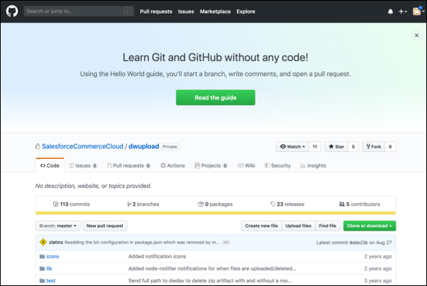 SFRA command line interface upload tool landing page in GitHub.