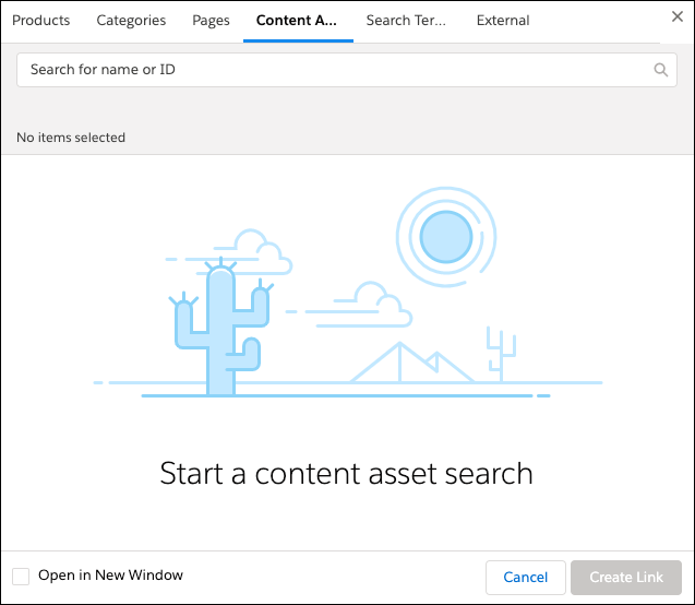 Link builder UI to start a content asset search.