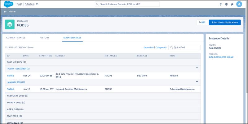 B2C Commerce POD Maintenances page