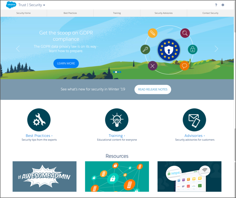 Salesforce Trust Security page