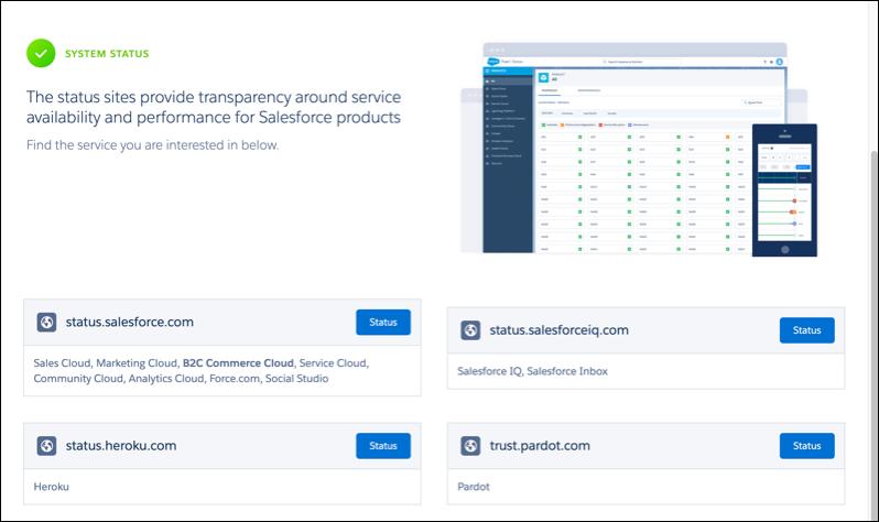 Salesforce Trust System Status page