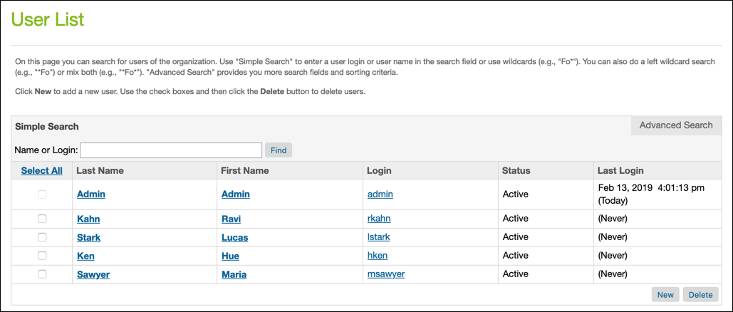 Business Manager User List page