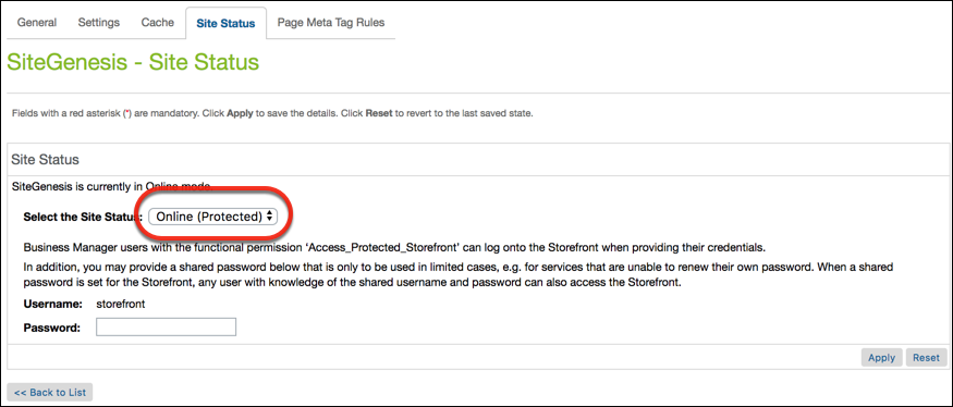 Business Manager Site Status page showing storefront password protection