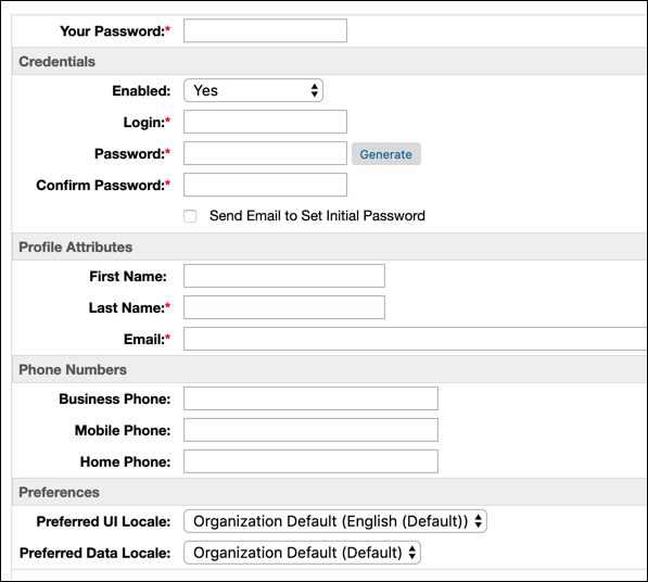 Business Manager New User page