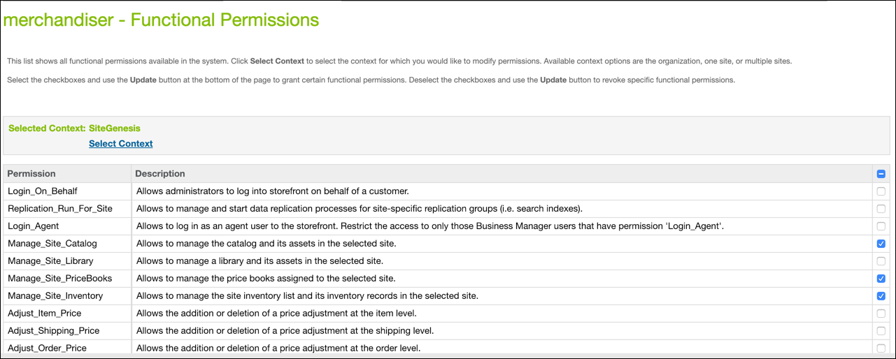 Business Manager Functional Permissions page