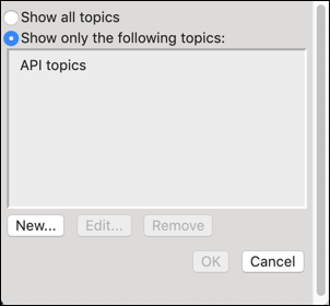 Narrow the search to API topics with API as the scope.