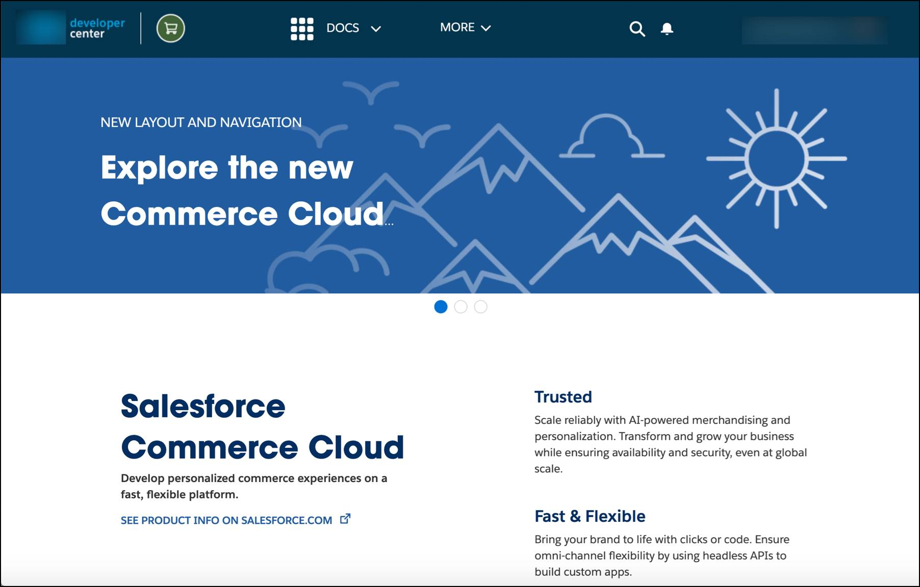 Access the Commerce Cloud Developer Center for B2C Commerce tools and collaboration.