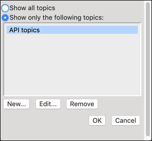Select Scope window with the API Topics link.