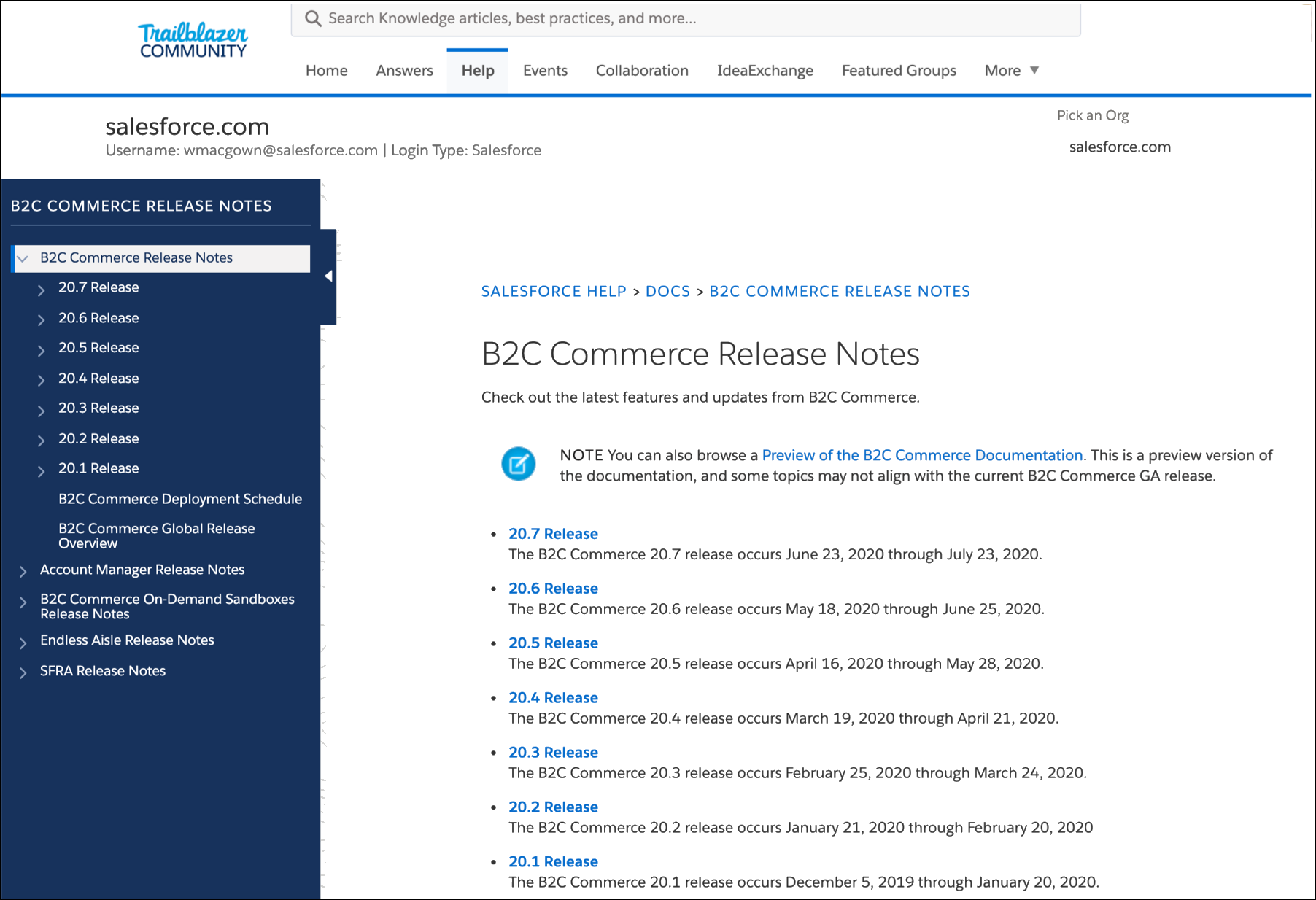 View Release Notes on the Trailblazer Community portal