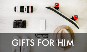 Gifts for him, showing a skateboard, hat, shoes, glasses, a phone, and a camera.