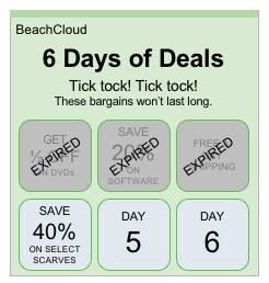 A day of holiday deals promotion showing both expired and active deals.