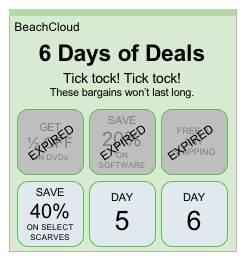 期限切れのお買い得品と有効なお買い得品の両方を示すホリデーセールのプロモーション日。