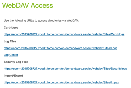Business Manager WebDAV log access page