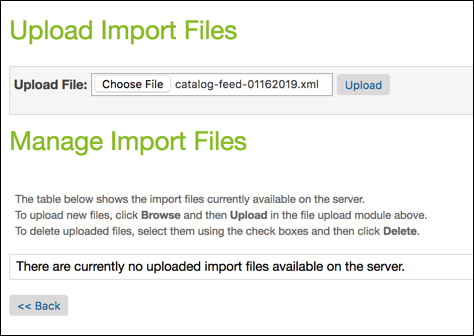 Upload a catalog file for import in Business Manager.