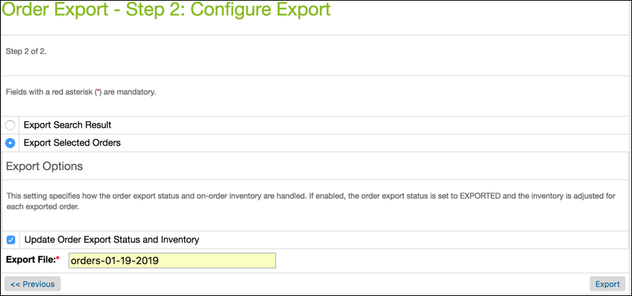 In Business Manager, enter the order       export file name and click Export.
