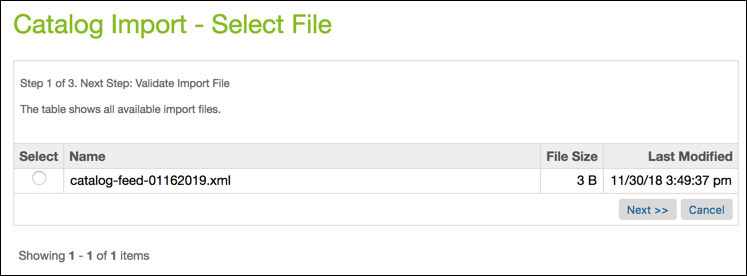 In Business Manager, select the file to import.