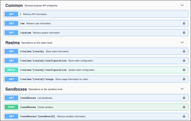 REST API commands.