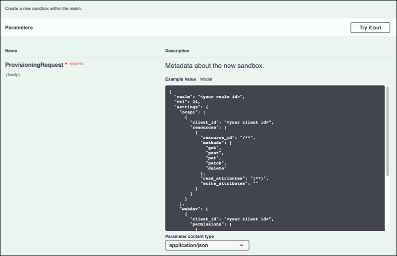 In the REST API,       enter the realm ID and client ID.