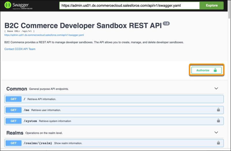 REST API Authorize page.