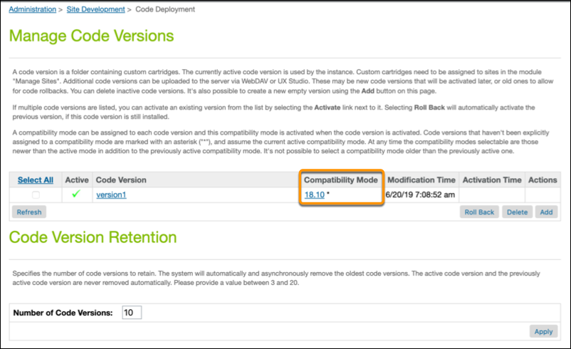 Business Manager Manage Code Versions page showing the compatibility mode.