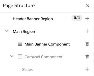 In Page designer, add slides to the Carousel component.