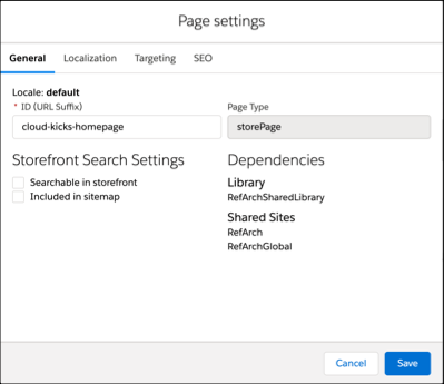 Page Designer, Page settings dialog.