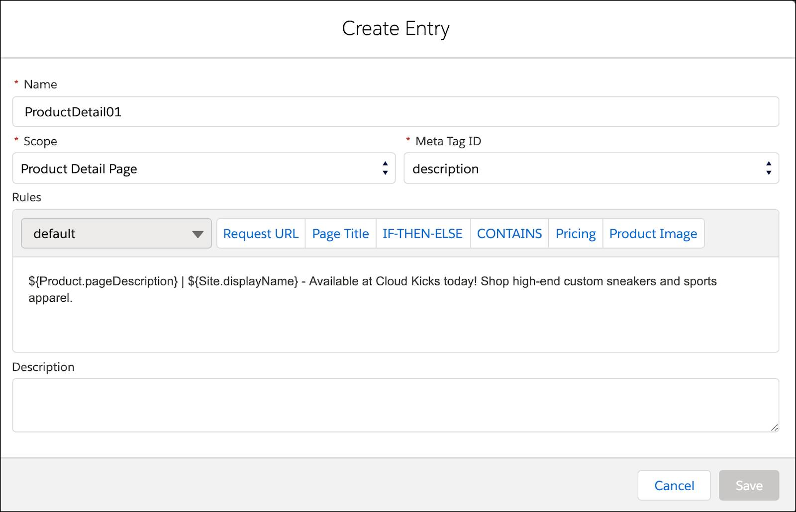 In Business Manager, create a new meta tag rule.
