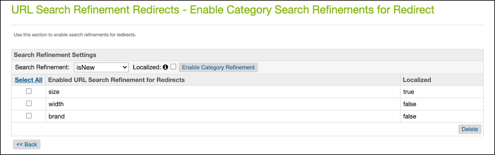 Business Manager, enabled category search refinements: size, brand, and width