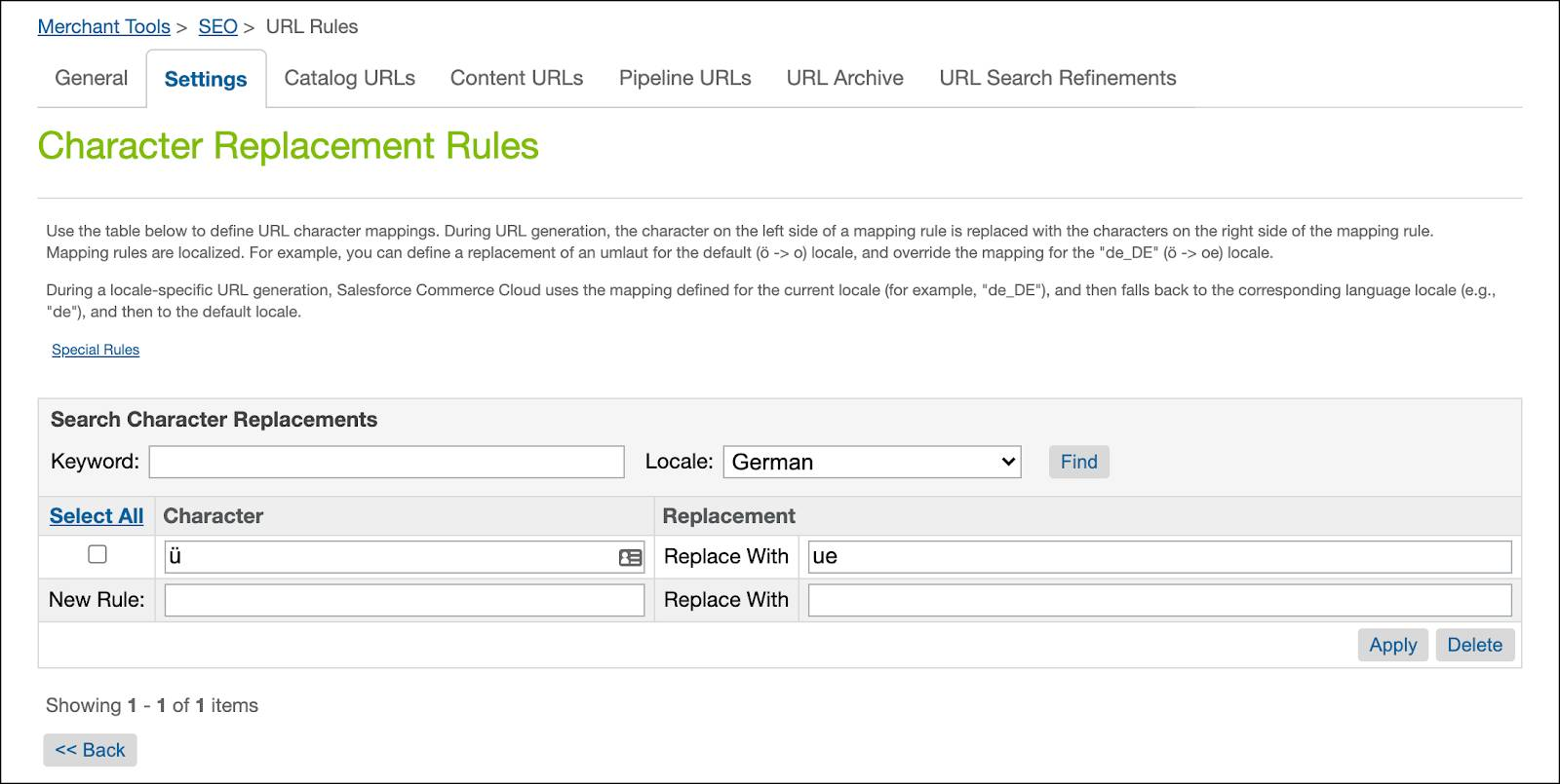 Business Manager, SEO URL, character replacement rules