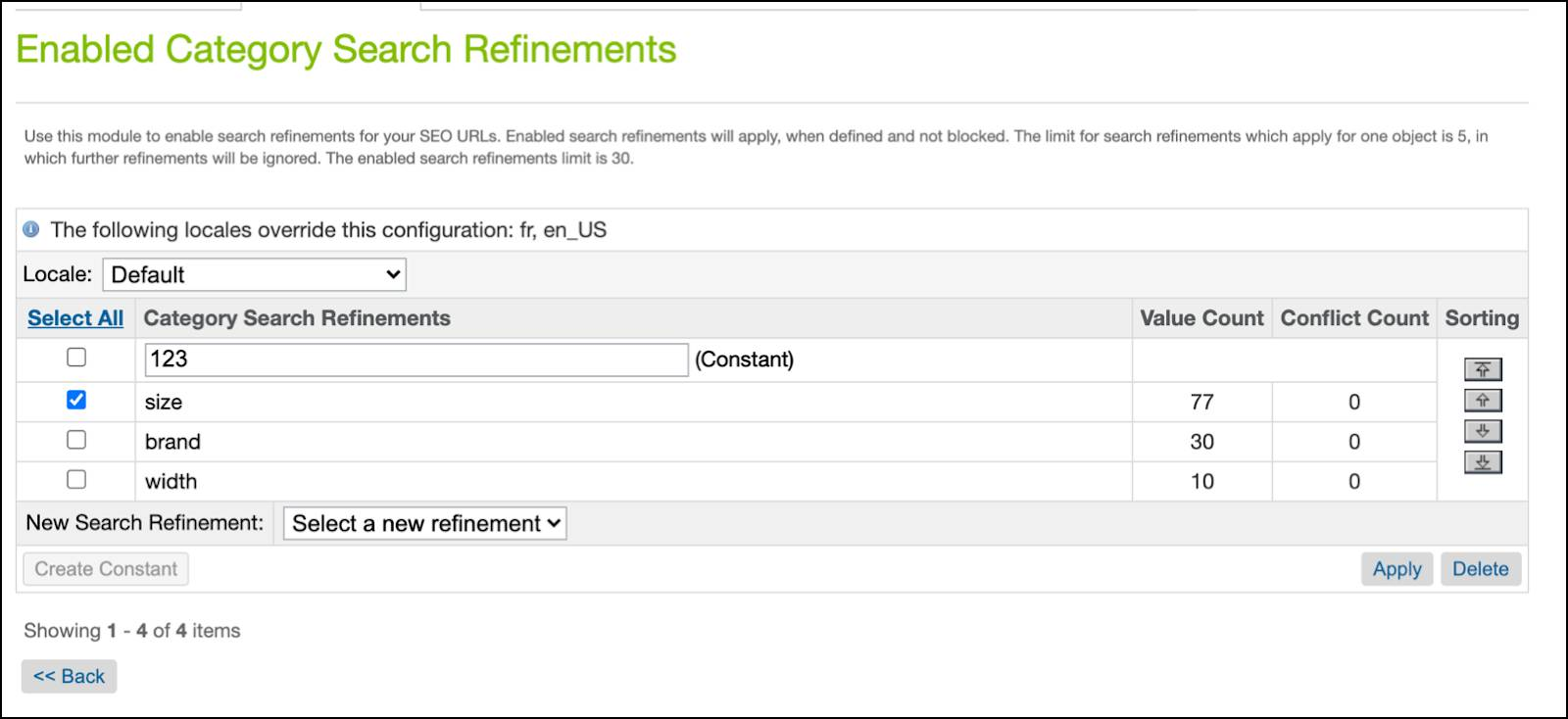 Business Manager SEO URLs, enabled category search refinements