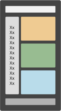 モバイルデバイス画面に、色のブロックで基本レイアウトが表示されている。