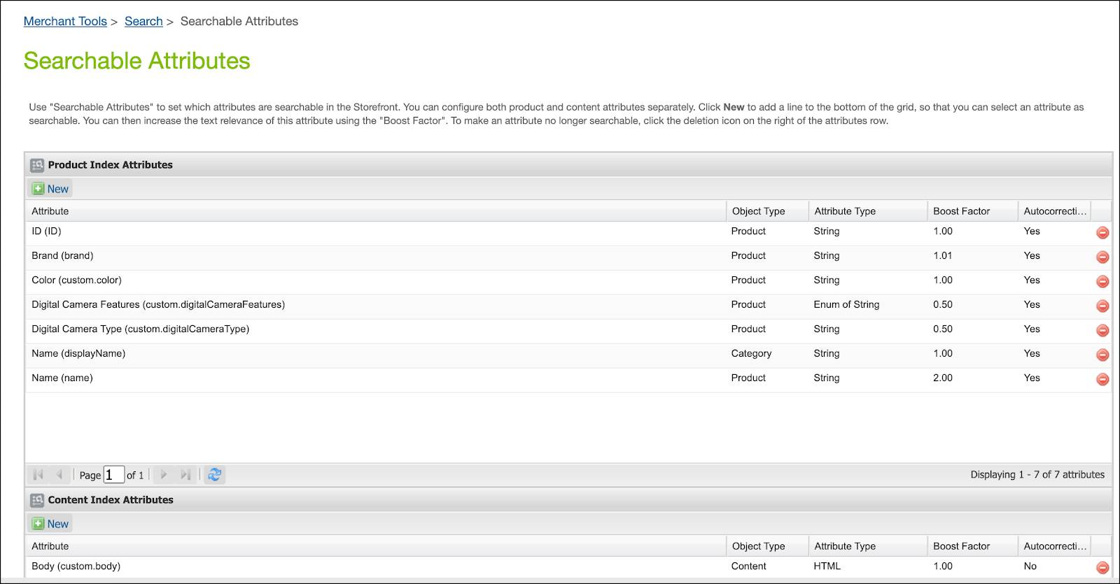 In Business Manager, see the searchable attributes.