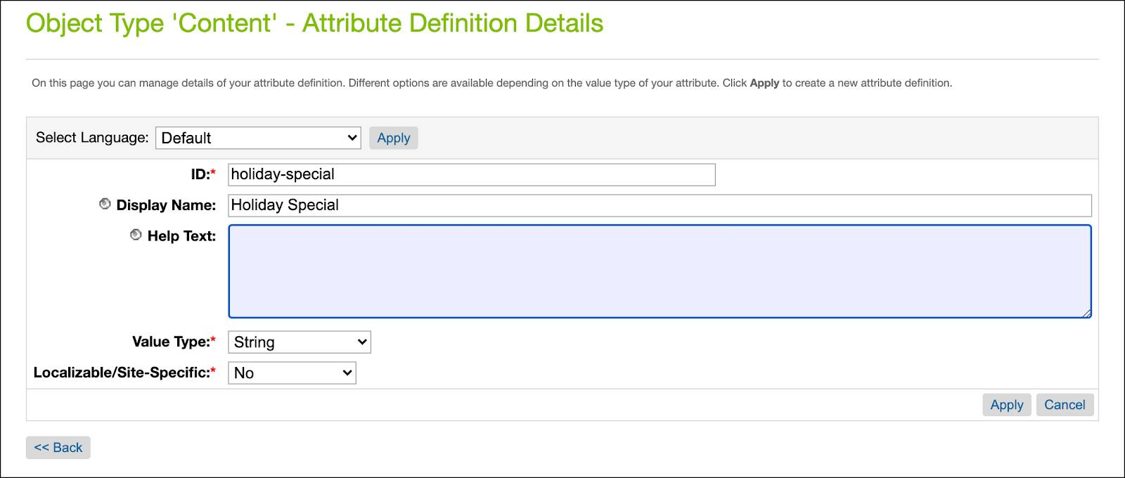 In Business Manager, create a new system content object attribute: holiday-special.