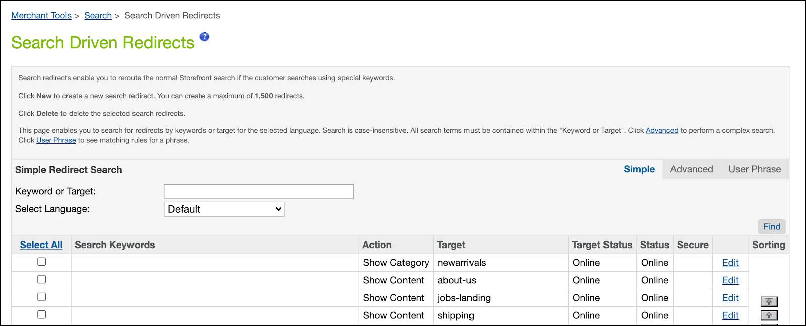 In Business Manager, create and edit search-driven redirects.