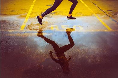 Athlete running a race