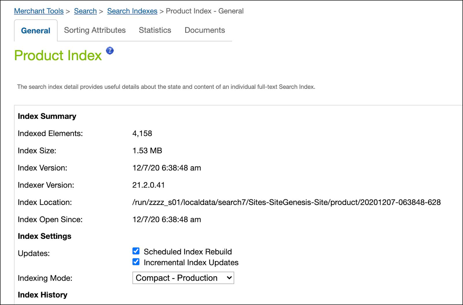 In Business Manager, view product index data.