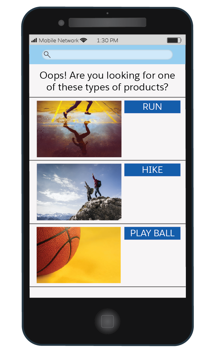 Three fun, sports-related (run, hike, and play ball) graphics intended for a no search results page